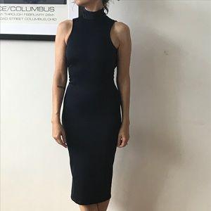 EUC high neck, backless, body con navy midi dress